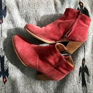 Red Suede Cowgirl-Style Booties